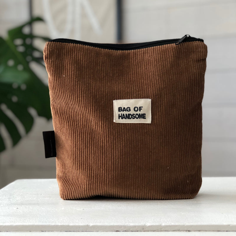Men's Corduroy Wash Bag | Shaving Bag | Toiletry Bag