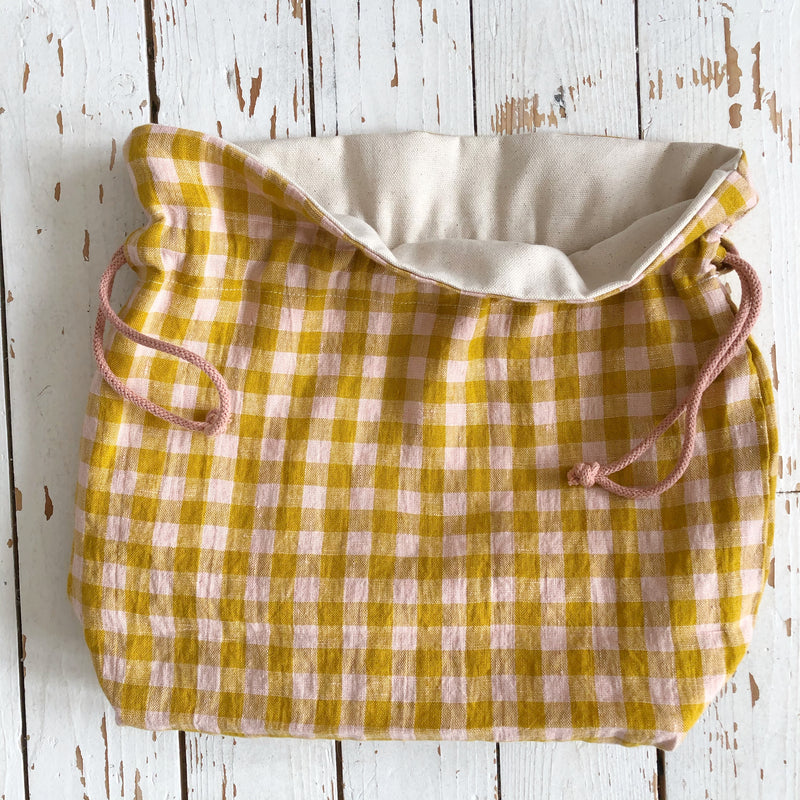 Crochet or Knitting Gift Pink and Yellow Check Country Style Linen project bag