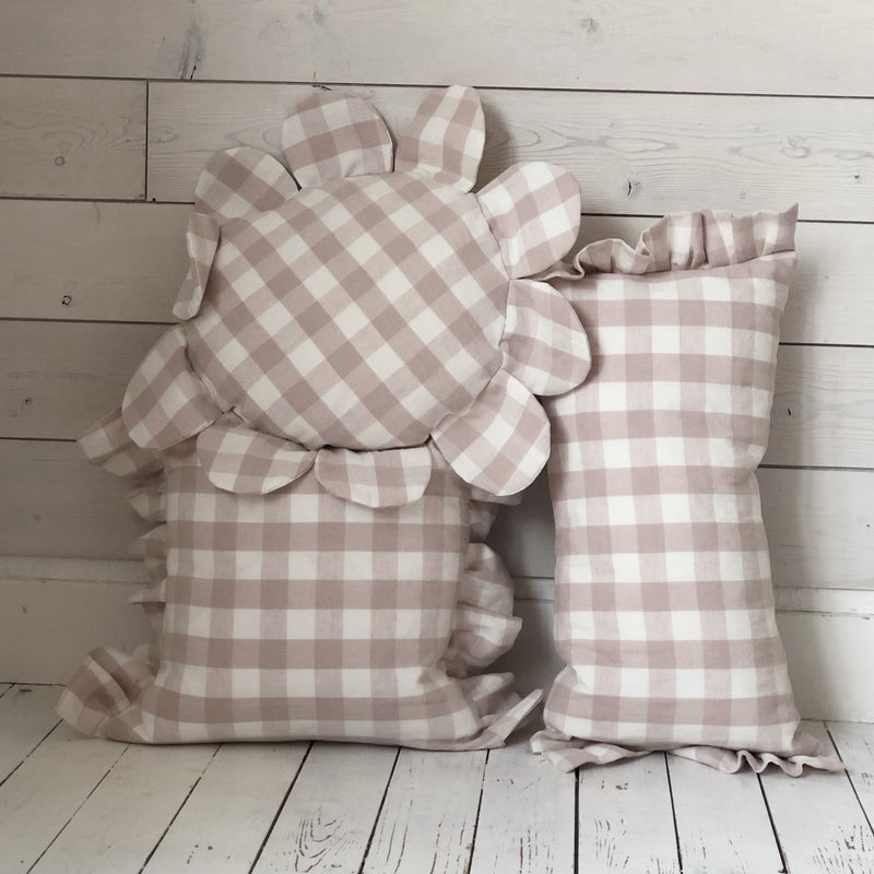 Pink Frilled Gingham linen Cushion Frilly Pillow