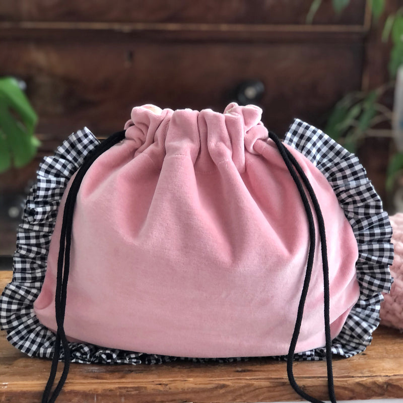 Pink And Gingham Frilled Pouch Bag or Frilled Knitting Project Bag