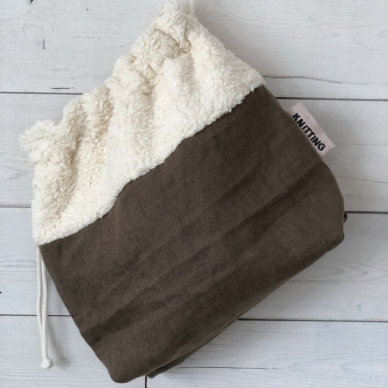 The Winter Knitting Bag | Linen and Organic Teddy Fabric Knitting Project Bag