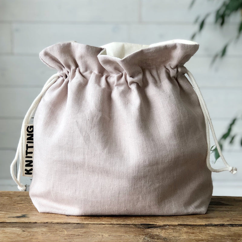 Linen Knitting Bag | Knitting Project Bag  in  eco friendly Linen