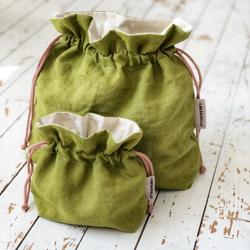 Green Linen Knitting Project Bag or Crochet Project Bag