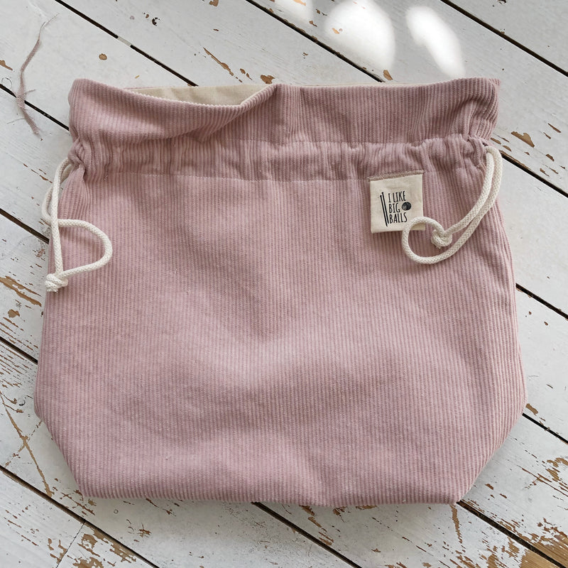 Big Balls Pink Corduroy Knitting or Crochet Project Bag