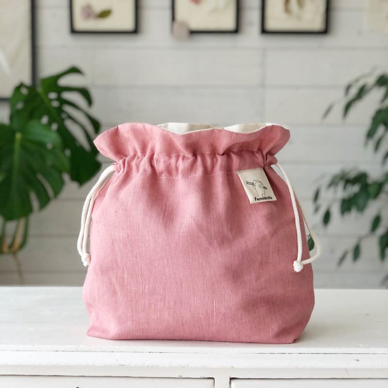 Blush Pink Linen Crochet and Knitting project bag