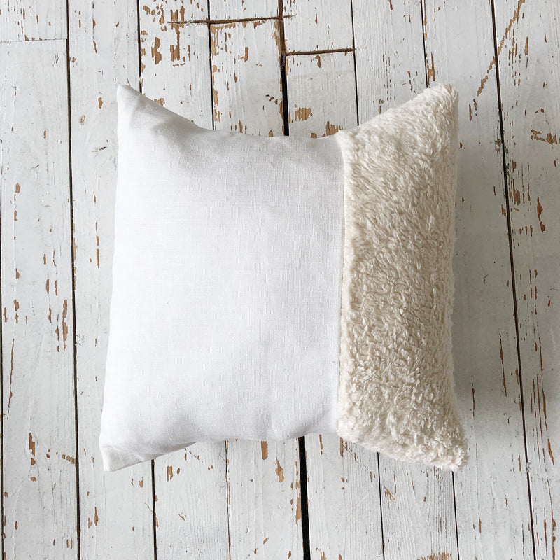 Square Organic Fluffy Teddy Fabric And Linen Cushion