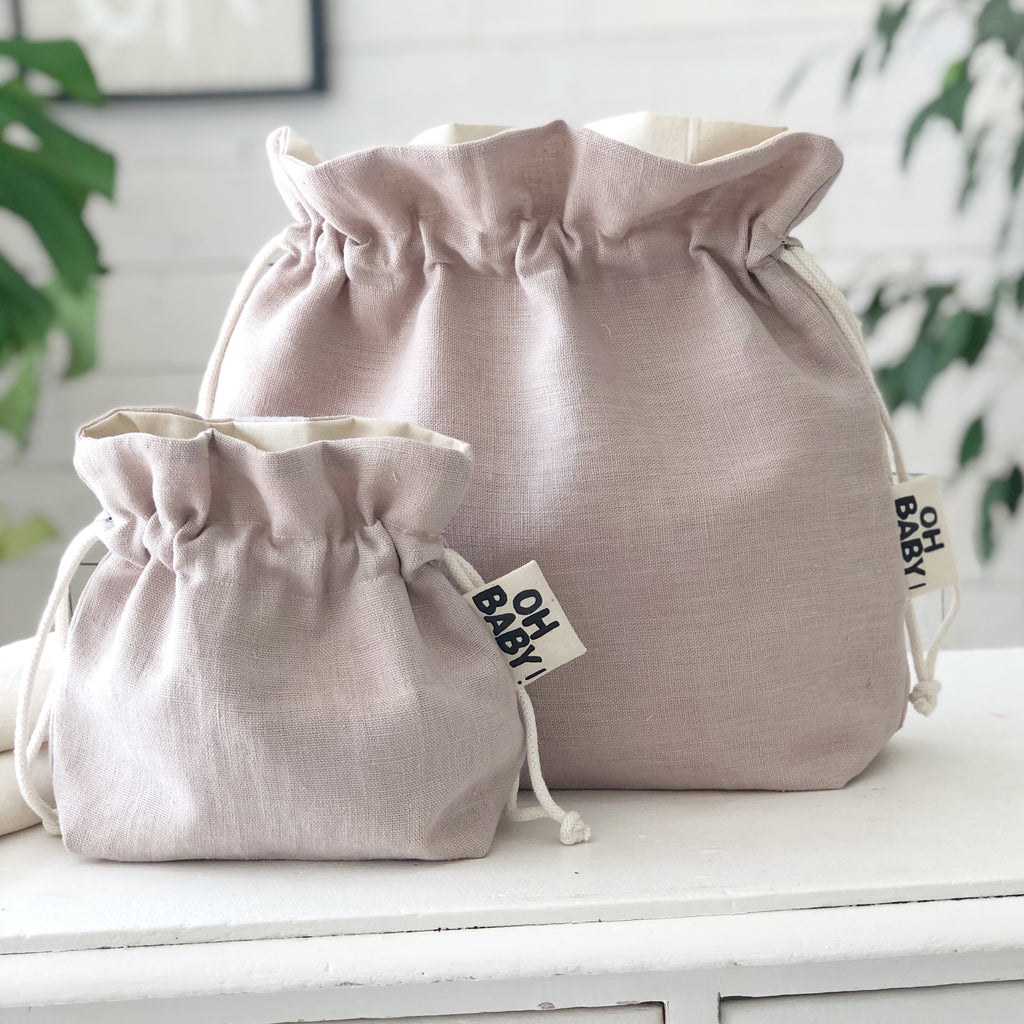 Newborn Baby Gift  Pink Linen Nursery Storage Bag