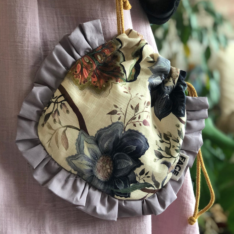 Boho Pouch Bag or Makeup Bag | Frilled Evening Bag | Slow Fashion