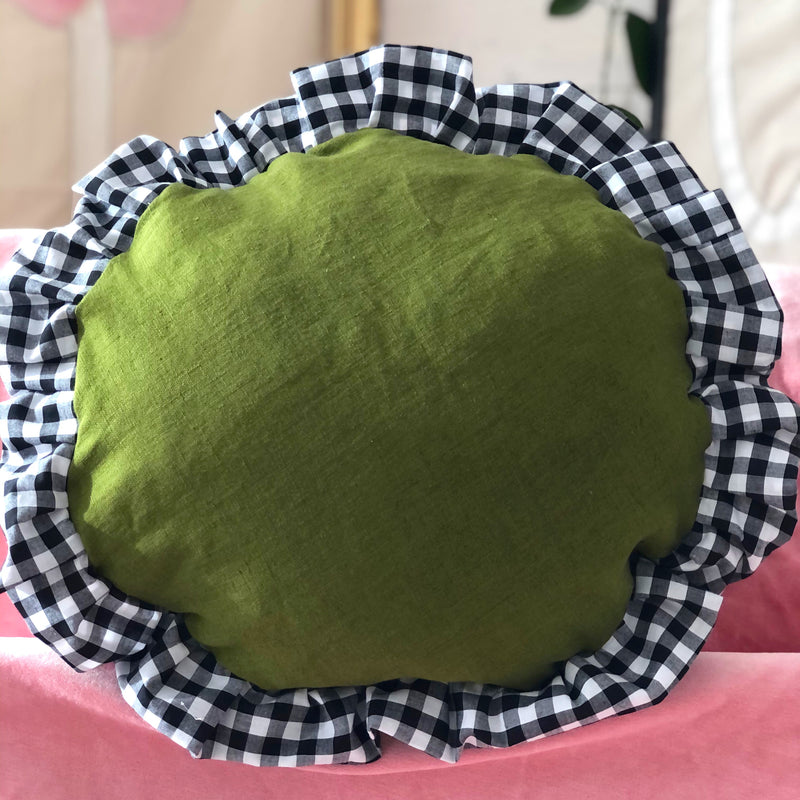 Green Linen Frilly Gingham Round Cushion