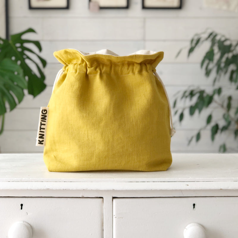 Project Bag Wool Bag  in Linen For Knitting or Crochet