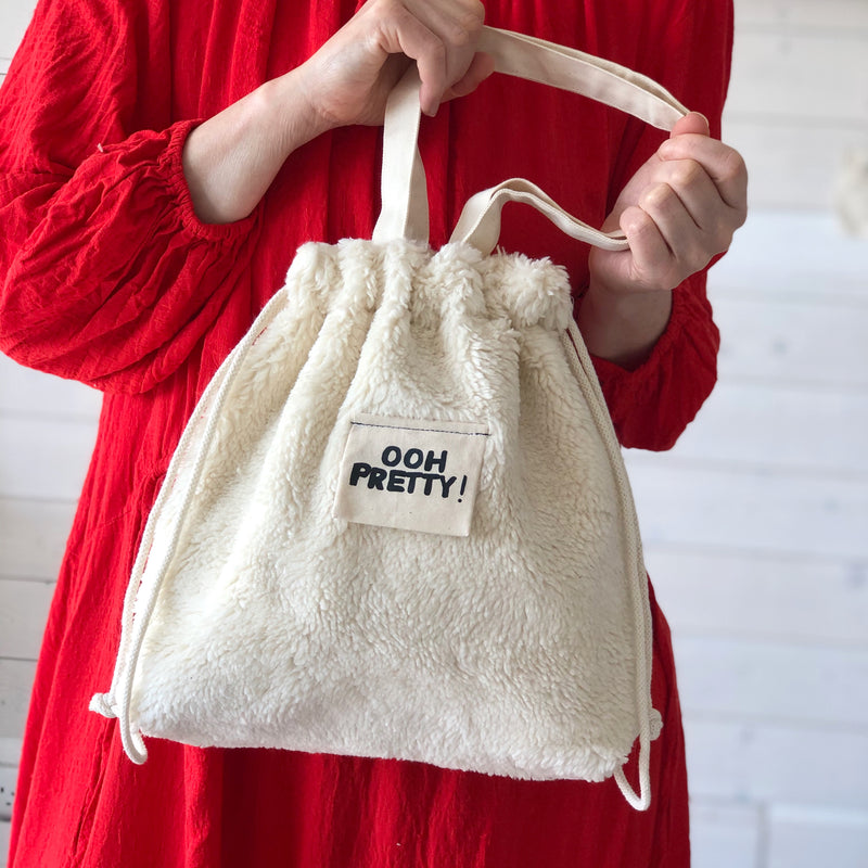 Cute Handbag in Organic Plush Fabric | Sustainable Shoulder Bag