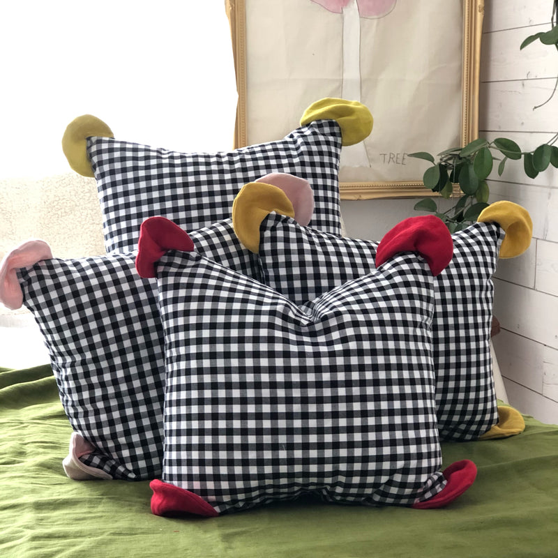 Cushion Pops Gingham And Linen Happy Cushions