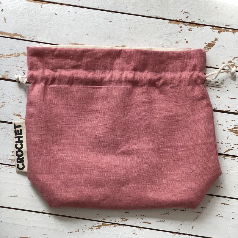 Personalised Knitting Project Bag Wool Bag in Linen