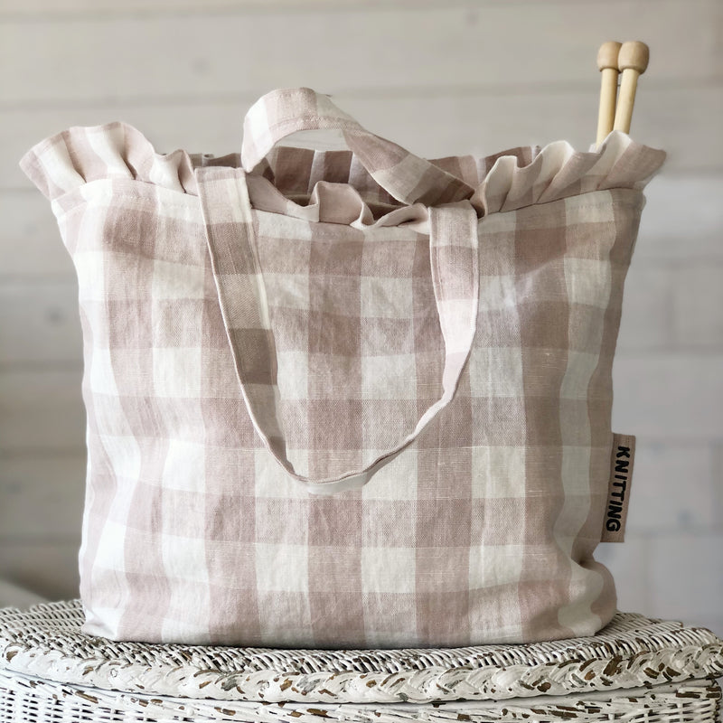 Pink and White Check Knitting or Crochet bag