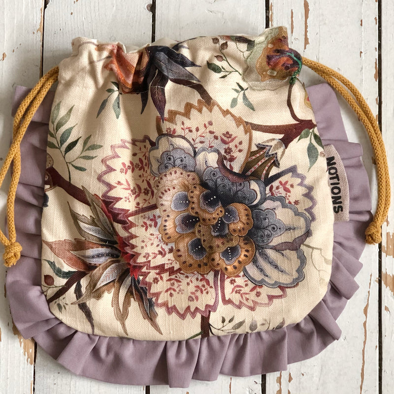 Floral Frilled Knitting and Crochet Notions Bag