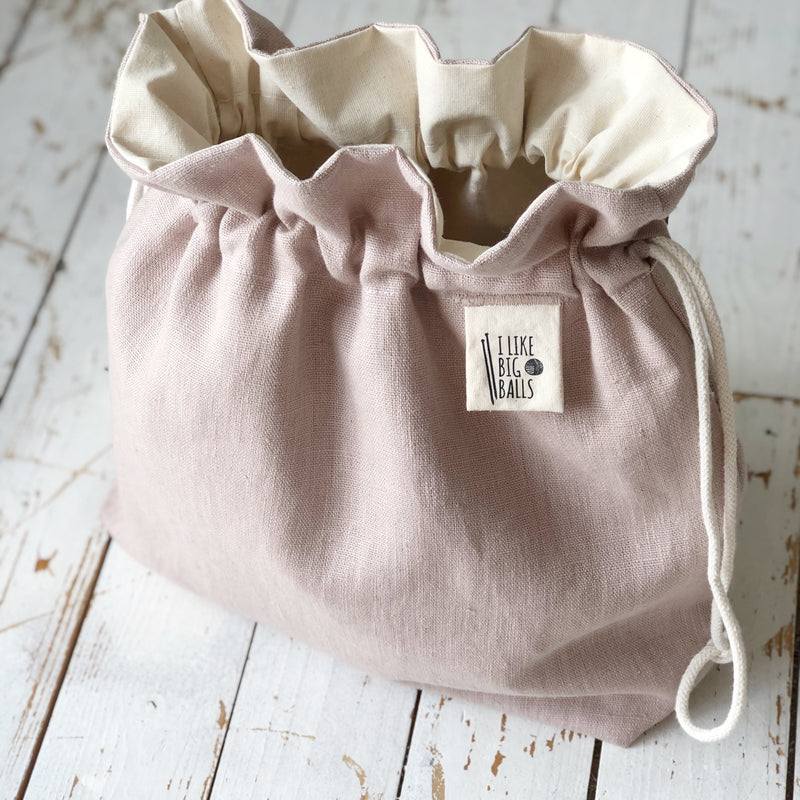 Personalised Pink Linen Crochet and Knitting project bag