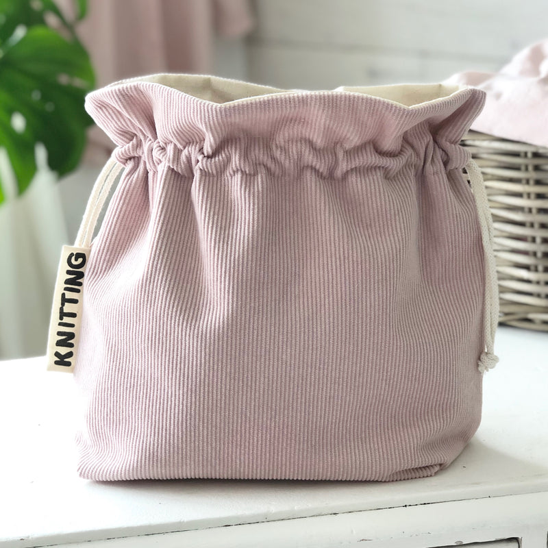 Corduroy personalised Crochet and Knitting project bag