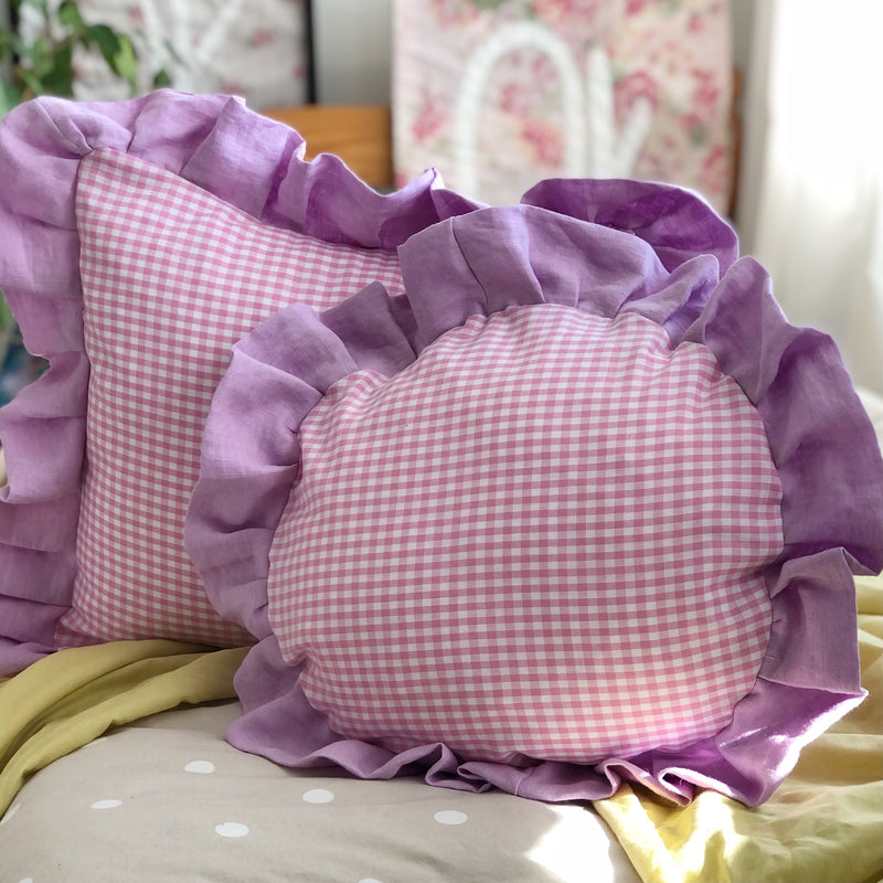 Frilled Gingham and linen Cushion Pink and Orchid Frilly Pillow