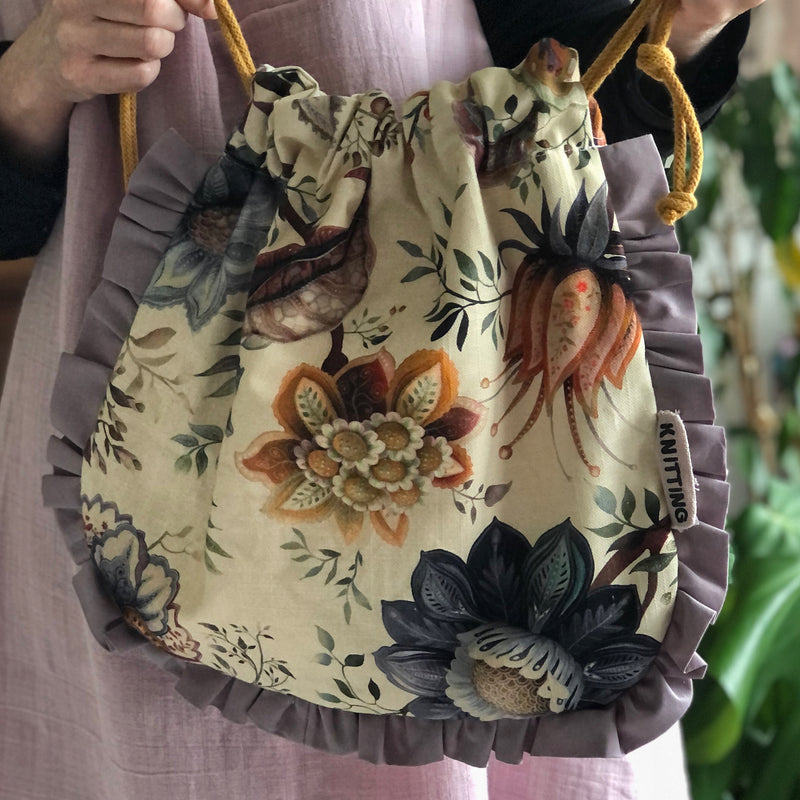 Floral Frilled Pouch Bag or Knitting Project Bag