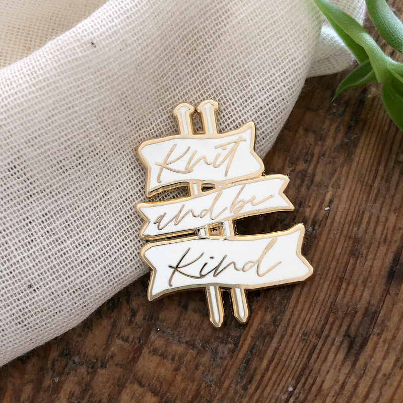'Knit and be Kind' Cute Knitting Enamel Pin Badge | Kelly Connor Designs