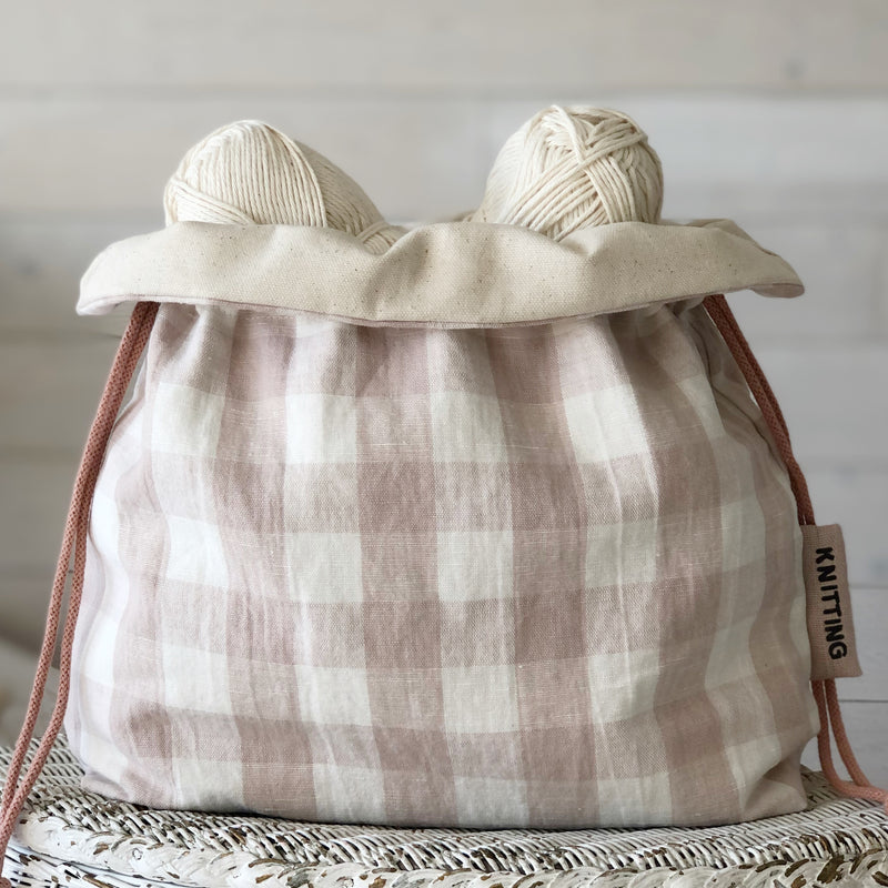 Pink and White gingham knitting project bag