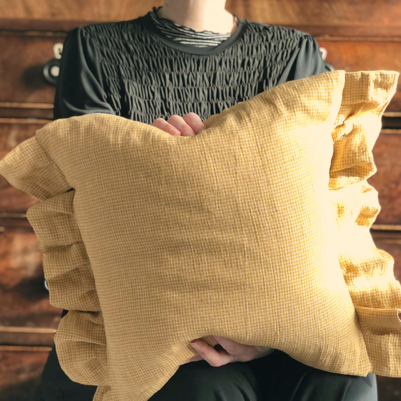 Linen Gingham Frilly Cushion Yellow check Pillow