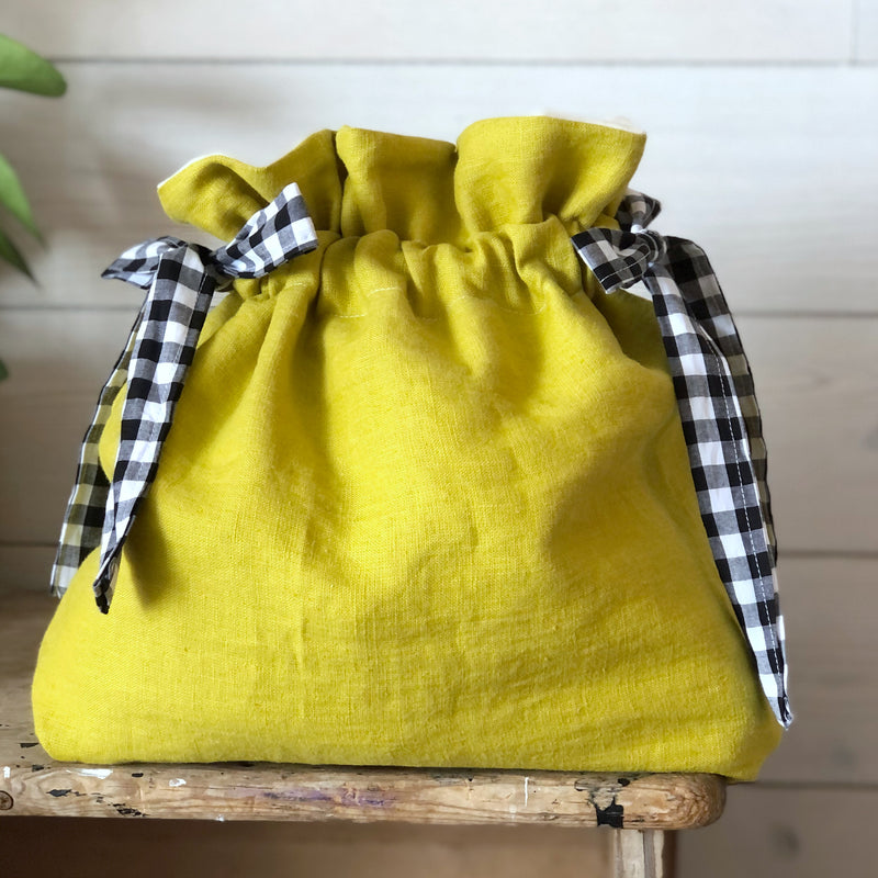 Chartreuse Linen Knitting Project Bag