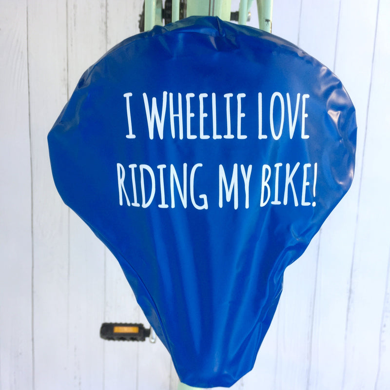 'I Wheelie Love Riding My Bike' Bike Seat Cover | Kelly Connor Designs