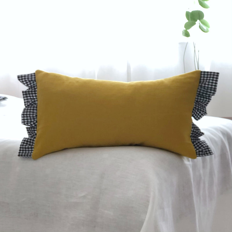 Yellow frilled oblong Cushion with  Gingham Frill