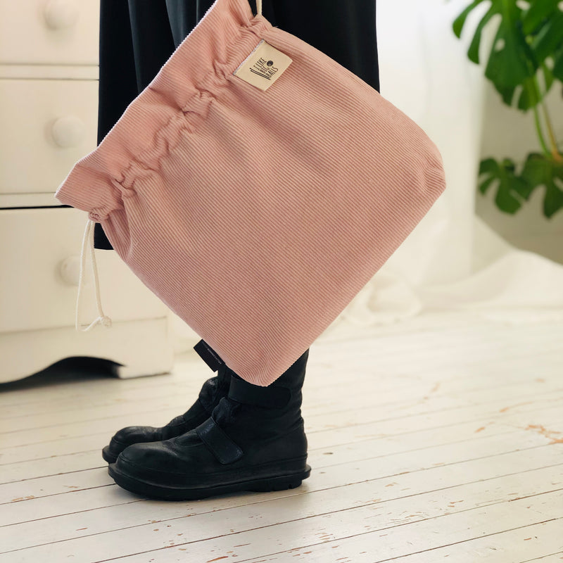 Big Balls Pink Corduroy Knitting Project Bag | Kelly Connor Designs