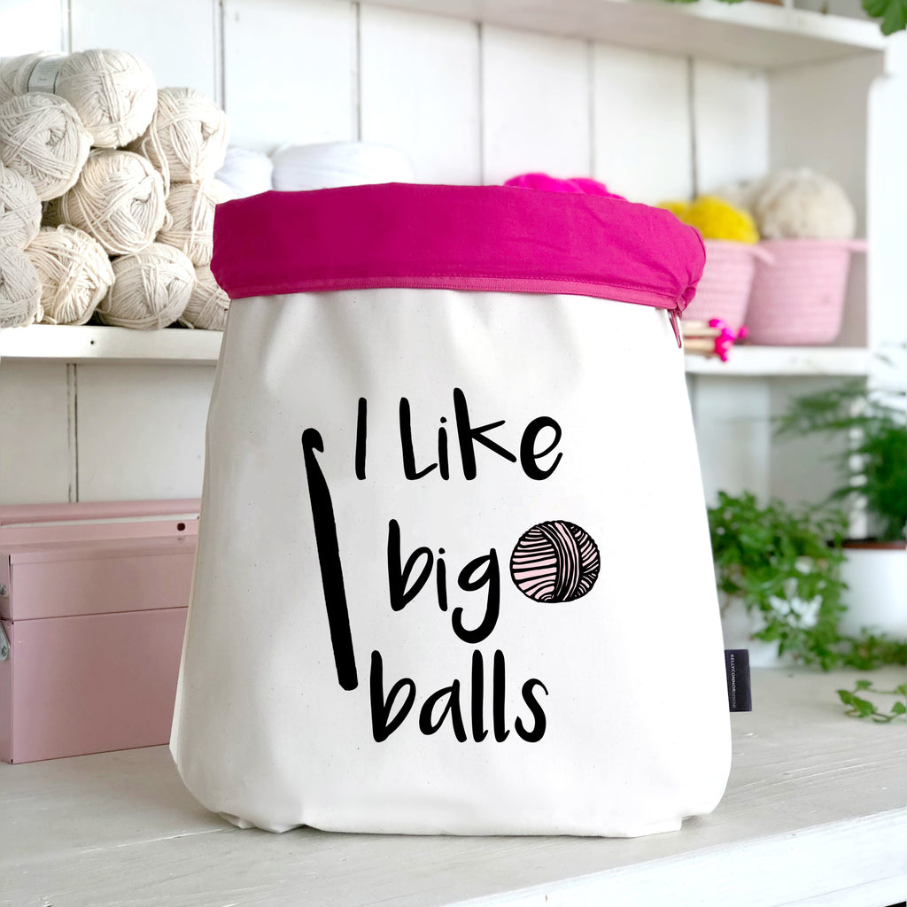 'I Like Big Balls' Large Crochet Project Bag | Kelly Connor Designs
