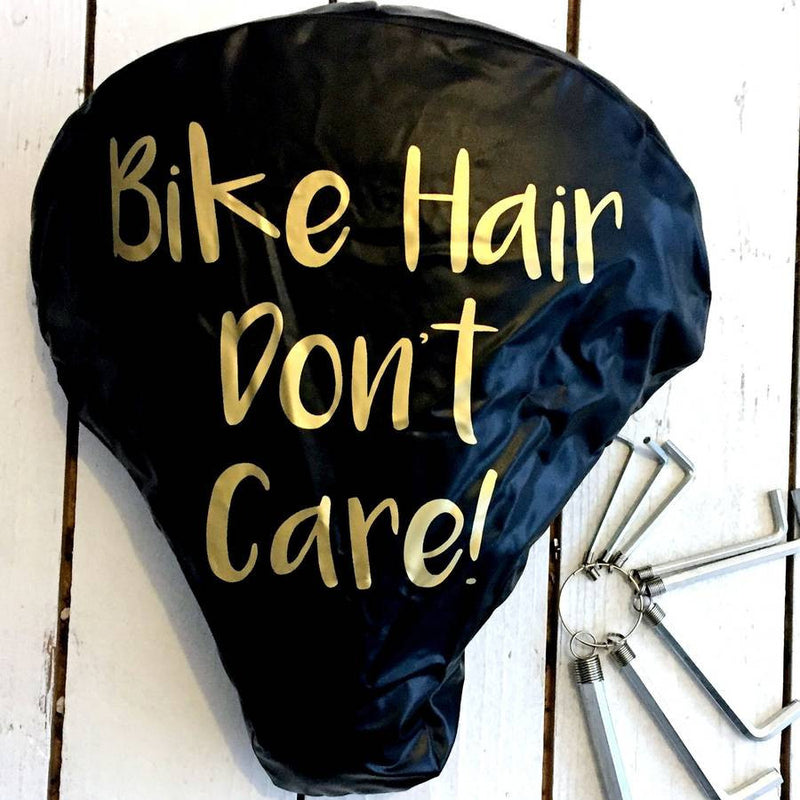 'Bike Hair Don't Care' Bike Seat Cover | Kelly Connor Designs
