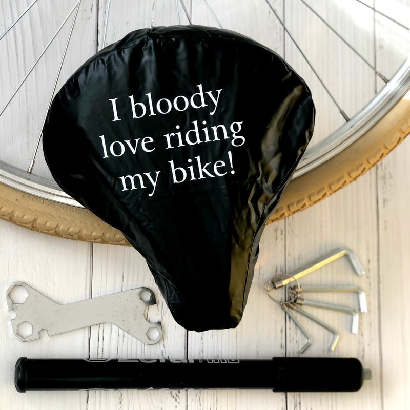 'I Bloody Love Riding My Bike' Waterproof Bike Seat Cover | Kelly Connor Designs