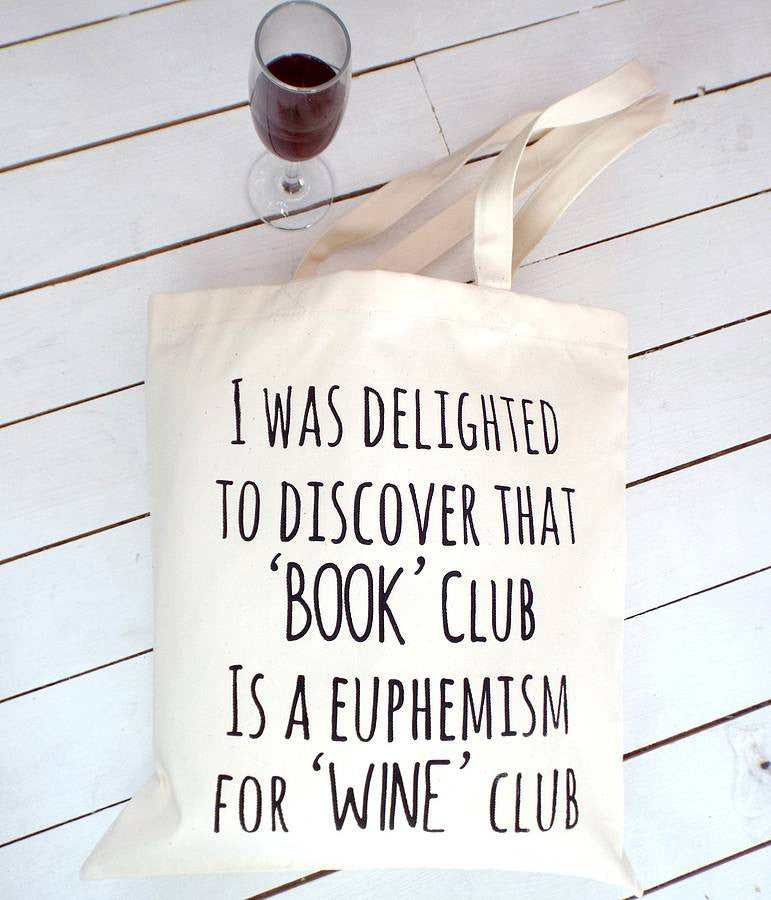 'Book Club Wine Club' Tote | Kelly Connor Designs