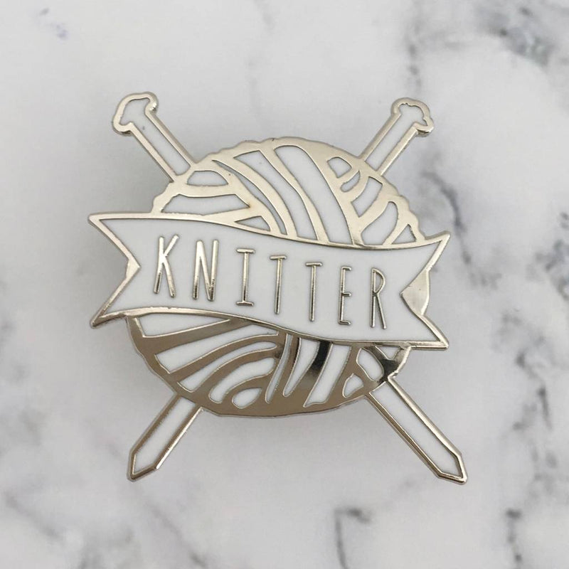 'Knitter' White and Silver Enamel Pin Badge | Kelly Connor Designs