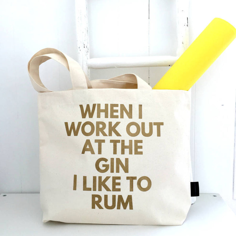 When I Work Out At The Gin I Like To Rum - Gym Bag bag Kelly Connor Designs UK Gift