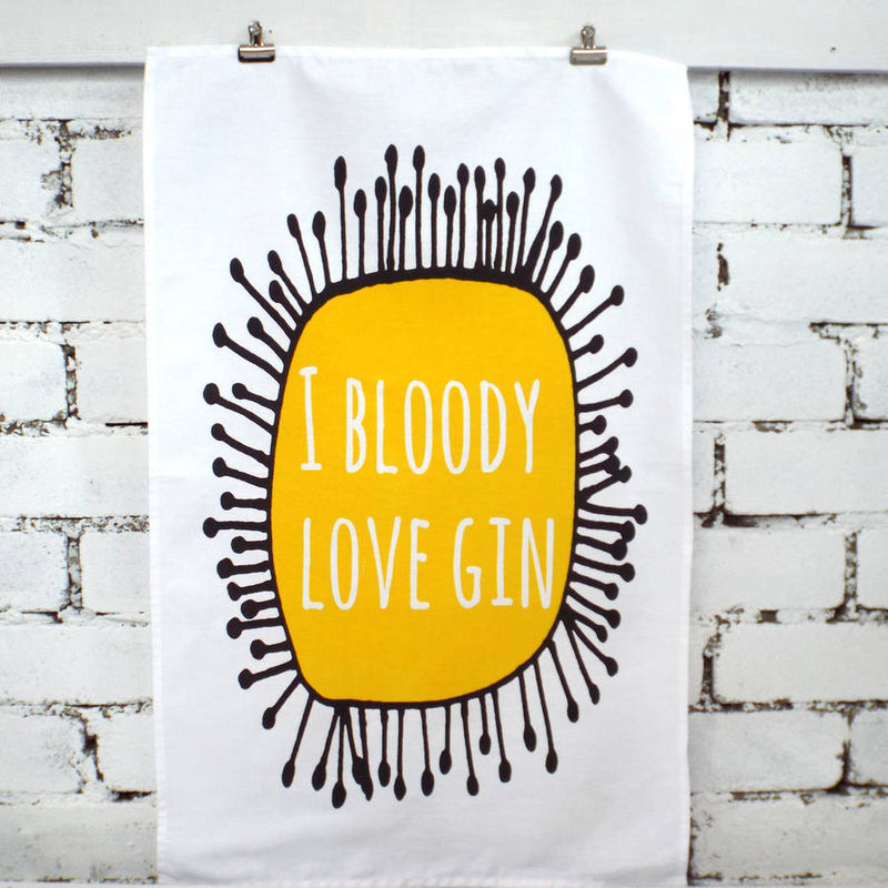 'I Bloody Love Gin' Tea Towel Alcohol Tea Towel Kelly Connor Designs UK Gift