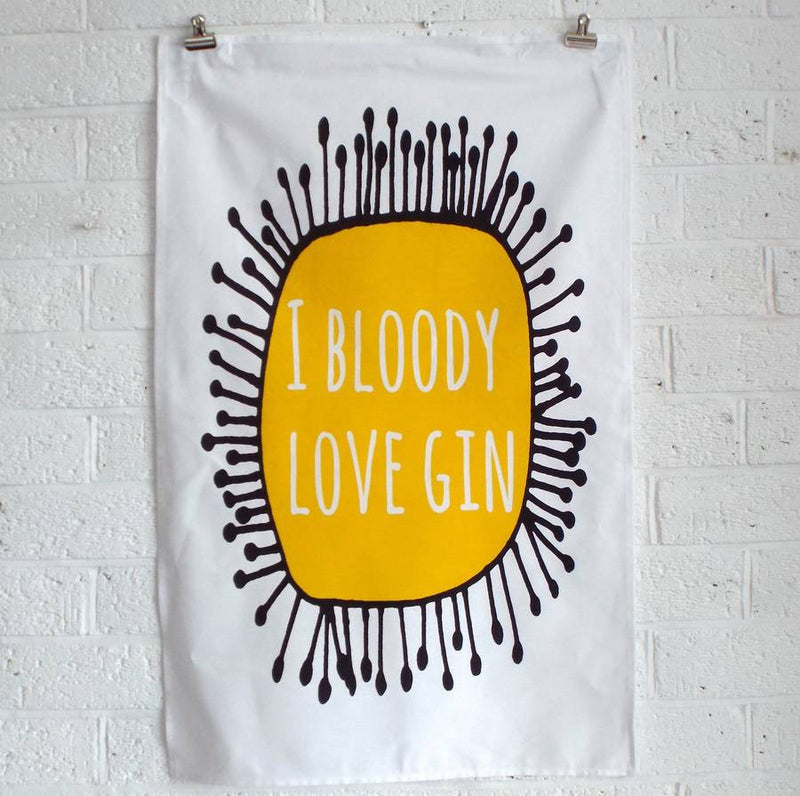 'I Bloody Love Gin' Tea Towel | Kelly Connor Designs