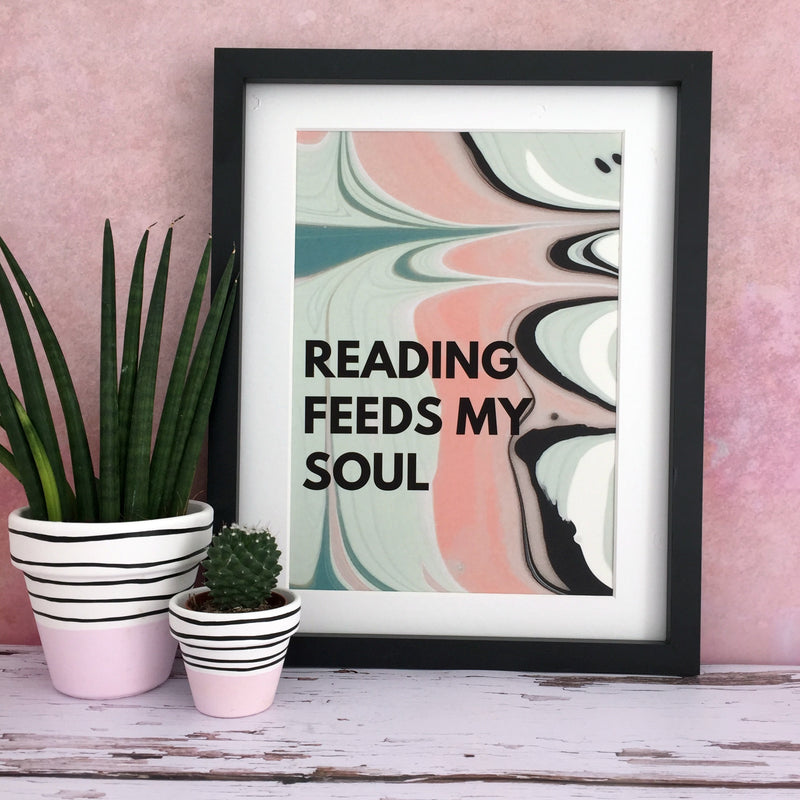 'Reading Feeds My Soul' Abstract Book Print