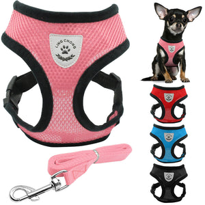 New Soft Breathable Air Nylon Mesh Puppy Dog Pet Cat Harness and Leash Set - Namaste Heart Space