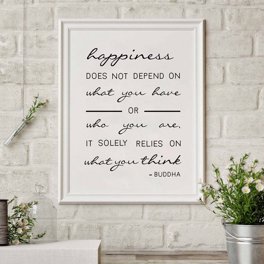 Happiness Buddha Quote Art Canvas Wall Decor - Namaste Heart Space