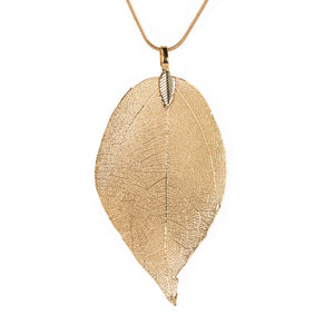 Real Natural Filigree Leaf Long Pendant Necklace