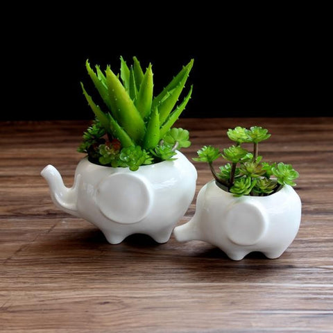 Cute Elephant Flower Pot - White Ceramic