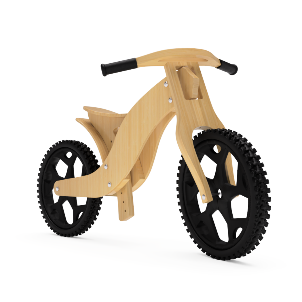 DIY Wood Balance Bike, Construction Plan, Drawing, Blueprint, CNC plan to make a kids balance bike yourself side