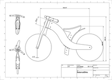 DIY Wood Balance Bike, Construction Plan, Drawing, Blueprint, CNC plan to make a kids balance bike yourself