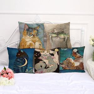 Canvas Cat Cushion Covers