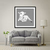 Lamb At Rest (Grey) Giant Format - Artist Print with Frame (Print Size:100cm x 100cm; Framed Size 114cm x 114cm)