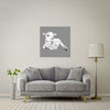 Lamb At Rest (Grey) Large Format - Metal Print 80cm x 80cm