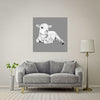 Lamb At Rest (Grey) Giant Format - Metal Print 100cm x 100cm