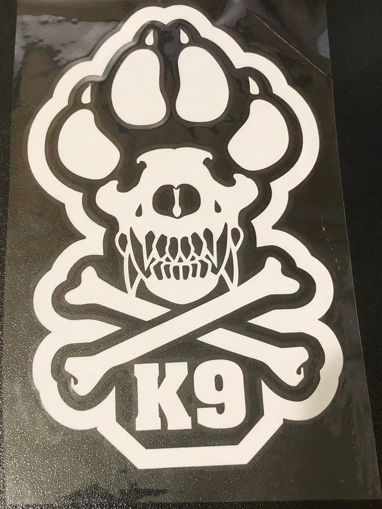 "K-9 Skull Crossbones 6x3.5"" Vinyl Decal"
